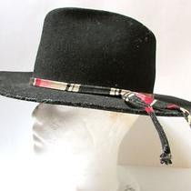 Vintage Hippie Biker Billy Jack American Indian Gypsy Black Hat -Woven Hatband  Photo