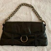 Vintage Hobo International Black Distressed Leather Clutch Wallet  Chain Strap Photo