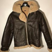 Vintage Hollies Mens L Genuine Shearling Lambfur B-3 Style Aviator Jacket Brown Photo