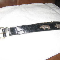 Vintage Honest by Brighton - Black Belt With Sterling Silver Animals Photo