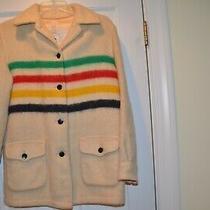 Vintage Hudson's Bay Wool Unisex White Jacket Coat 4 Striped Canada Photo