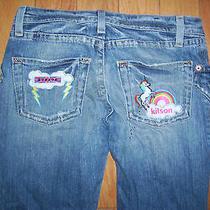 Vintage Hudson Womens Denim Jeans Flare Lightning Bolts  Rainbow  Size 27  Photo