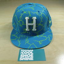 Vintage Huf Quake New Era Fitted Hat Electric Green Teal 7 7/8 Lightning Clerk Photo