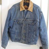 Vintage Hugo Boss Insulated Denim Jean Jacket Leather Collar Vtg 80s 90s Italy Photo