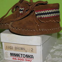 Vintage Infant Sz 2 Boy Girl Suede Minnetonka Pa Poo Shu Moccasin Shoe Banded Photo