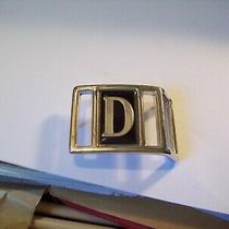 Vintage Initial D Belt Buckle Silver Tone Metal Black Accent Avon Jewelry Photo