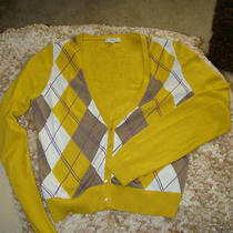 Vintage Inspired Fossil Argyle Cardigan Sweater Gold Yellow Purple L Cashmere Photo