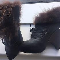 Vintage Inspired Rabbit Fur Lined Jeffrey Campbell Booties With Unique  Heel Photo