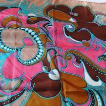 Vintage Italy Italian Silk Scarf Mod Pop Art Paisley Pink Aqua Brown Fuschia Vgc Photo