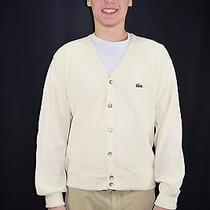 Vintage Izod Lacoste 1970's 80's Ivory Acrylic Cardigan Sweater Size Large - Usa Photo