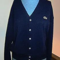 Vintage Izod Lacoste Blue Cardigan Sweater - Mens Size Medium - Super Photo