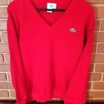 Vintage Izod Lacoste Holiday Christmas Red Acrylic Sweater Large Excellent Photo
