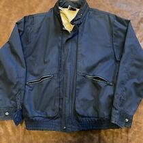 Vintage Izod Lacoste Jacket Large Blue Full Zip Pockets Concealed Hood Photo