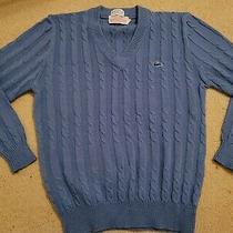 Vintage Izod Lacoste v Neck Sweater Child Kids Size 20 Blue Acrylic Vtg 90s Photo