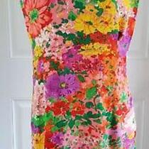 Vintage Jams World in Bloom Colorful Floral Print Shift Dress Womans Size Small Photo