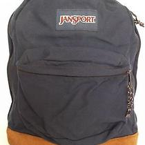 Vintage Jansport Backpack Navy Blue Suede Bottom Bookbag School Hiking Photo