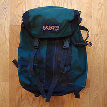 Vintage Jansport Backpack Pack Made in Usa Hiking Navy Leather School  Photo