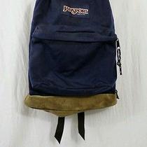 Vintage Jansport Blue Backpack Leather Suede Bottom Back to School Bookbag Photo