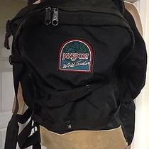Vintage Jansport Made in Usa Backpack Black W/leather Multi-Day World-Traveler Photo