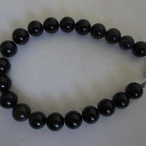 Vintage Jet Black Glass Beads Bracelet Photo