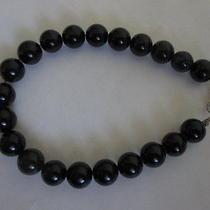 Vintage Jet Black Glass Beads Bracelet Photo
