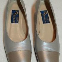 Vintage Joel Parker Leather Shoes 8 Aaa Pump Beige Gold Box Italian Wedding Photo