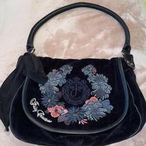 Vintage Juicy Couture Black Velour Shoulder Bag Hobo Embroidered Logo Front  Photo