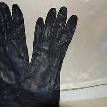 Vintage Kid Leather Gloves Stitch Design Navy Small Excellent Condition 187106 Photo