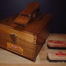 Vintage Kiwi Dovetailed Hand Crafted Groomer Solid Wood Shoe Shine Box Brush Photo