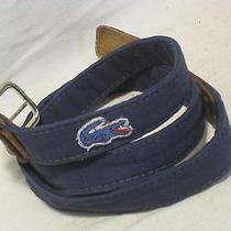 Vintage Lacoste Belt 2083 42-105 Cloth & Leather End  Photo