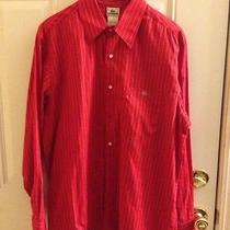Vintage Lacoste Long Sleeve Dress Shirt Red White Pinstripe Sz44 Xl Photo