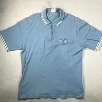 Vintage Lacoste Zip Up Polo Shirt - Size S (6) Men Blue Baby Blue White  Photo
