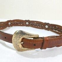 Vintage Ladies Fossil Braided Brown Leather Belt Concho Size 25 to 29 Small Photo