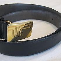 Vintage Lanvin Belt Leather Brass Italy Size 34 Photo