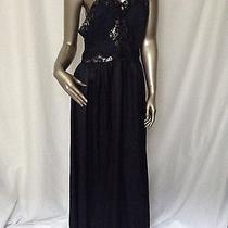 Vintage  Lanvin Black Long Lace Semi Sheer Silky Detail Long Slip Dress 6 Photo