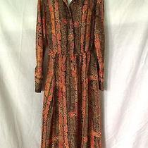 Vintage Lanvin Dress Mod Long Sleeve Coral Peach Floral Print Collar 70's Sz 10 Photo