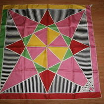 Vintage Lanvin Paris Spring Multi-Colours Silk Scarf Red Pink Green & Black Photo