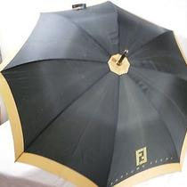 Vintage Large Black & Gold Fendi Parfums Perfume Advertising Umbrella Parasol Photo