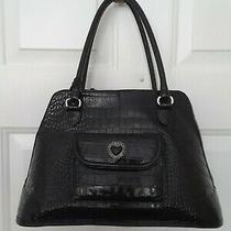 Vintage Large Black Leather Brighton Doctor Satchel Tote Shoulderbag Handbag    Photo