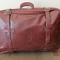 Vintage Large Cartier Bordeaux Leather Suitcase Travel Bag Luggage   Photo