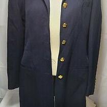 Vintage Lauren Ralph Lauren Navyblue Velvet Collared Coat Gold Color Buttons S10 Photo