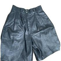 Vintage Leather Black Culottes Shorts - Size 8 Photo