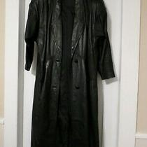 Vintage Leather Coat Long Women's Express Size 8 80's Photo