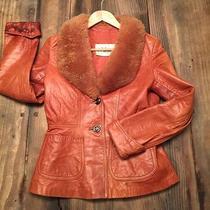 Vintage Leather Cognac Coat Sz S Photo