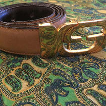 Vintage Leather Gucci Belt With Gold Buckle  Photo