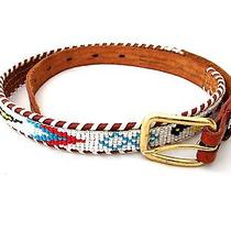 Vintage Leather Native American Thunderbird Tribal Western Beaded Belt Brown 28 Photo