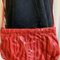 Vintage Leather Shoulder Bag Purse Red Tote Hobo Clutch Photo