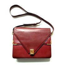 Vintage Les Must De Cartier Burgundy Double Flap Envelope Shoulder Purse Photo