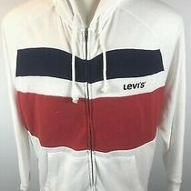 Vintage Levi's Full Zip Hoodie Sweatshirt Levi's Spell Out White/red/blue Sizexl Photo