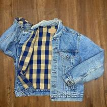 Vintage Levi's Mens S Blue Plaid Flannel Lined Denim Trucker Jacket Made in Usa Photo